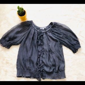 Blue Tassel Anthropologie Floral Ruffle Blouse